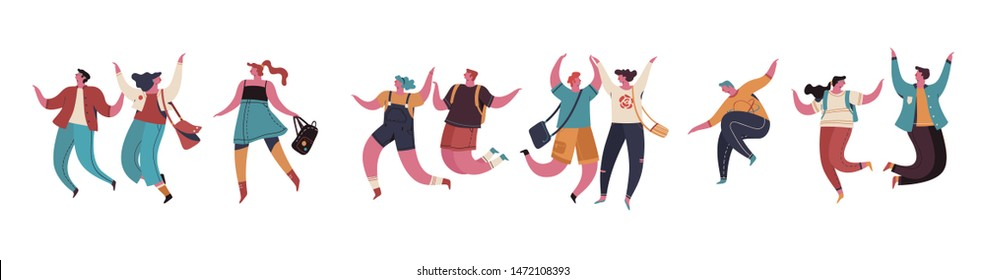 Group of young happy people or male and female jumping and rejoicing. Smiling young male and female enjoying. Colorful vector illustration in flat cartoon style.