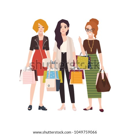 88652c9b2fe Group Young Happy Woman Holding Shopping Stock Vector (Royalty Free ...
