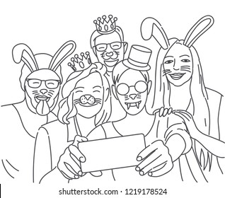 Group of young hipster friends make selfie photo with smartphone camera. Photos with false animal muzzles. Vector illustration.
