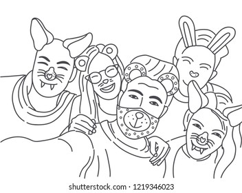 Group of young hipster friends make selfie photo with smartphone camera. Vector illustration. Coloring book.
