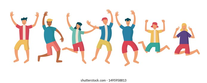 group of young joyful happy people jumping with raised hands isolated on white background. character female and male. cartoon flat vector illustration