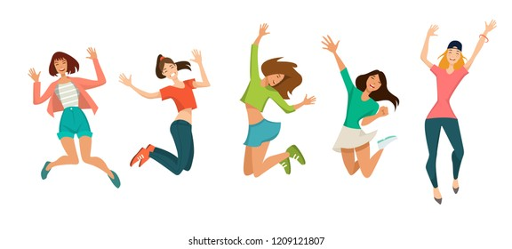 Group of young joyful laughing girls jumping with raised hands isolated on white background. Colored vector illustration in flat cartoon style.