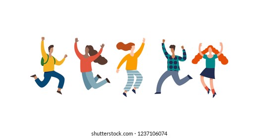 Group of young joyful laughing people jumping with raised hands isolated on white background. Colored vector illustration in flat cartoon style.