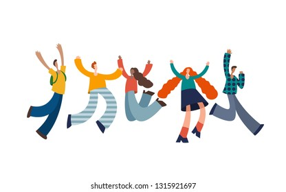 Group of young joyful laughing people jumping with raised hands isolated on white background. vector illustration in flat cartoon style.