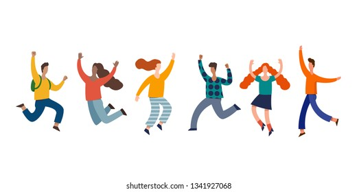 Group of young joyful laughing people jumping with raised hands isolated on white background.  vector illustration