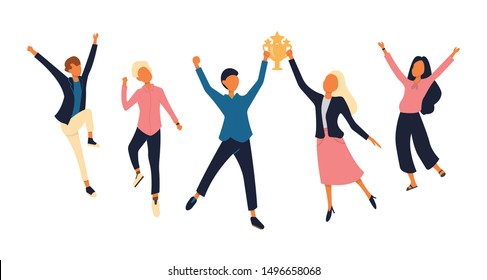 Group of young joyful people with champion cup isolated on white background. Happy positive men and women celebrating victory and rejoicing together. Successful teamwork. Flat vector illustration.