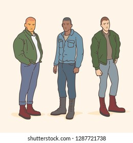 group of young man people with skinhead style fashion isolated on cream background. colorfull vector illustration with music genre style ska and skinhead culture.