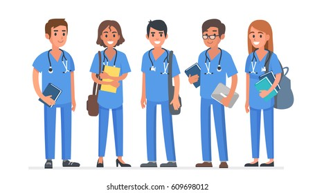 Group of young medical students. Students team. Vector illustration.