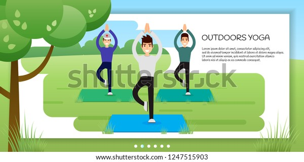 Group Young Men Practicing Yoga Park Stock Vector Royalty Free 1247515903