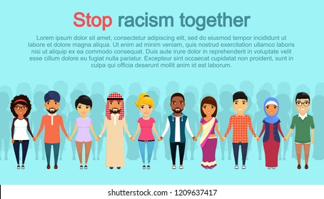 A group of young men and women oppose racism. Holding each other's hands. Asian, Latin American, African, European, Indian, Arab. Flat style. Cartoon