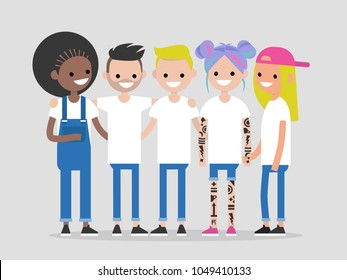Group of young modern people hugging and holding hands. Friends. Community. Flat editable vector illustration, clip art