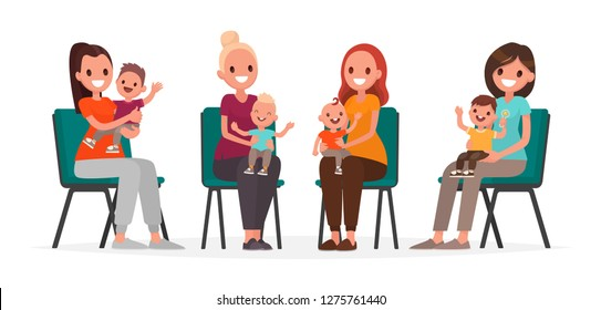 Group of young mothers with children are sitting on chairs. Courses postpartum depression. Vector illustration in flat style