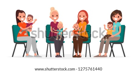 4fce0ba22 Group Young Mothers Children Sitting On Stock Vector (Royalty Free ...