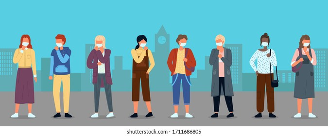 Group of young multinational people in medical masks at background of city. Concept of viral epidemic. Set of characters in protection masks at the distance. Vector illustration in flat style