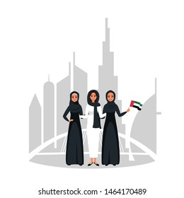 Group of young muslim businesswomen standing together at celebration Emirati Women's day on background skylines of downtown Dubai. Vector illustration in flat cartoon style