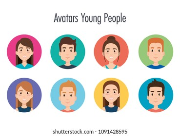 group of young people avatars