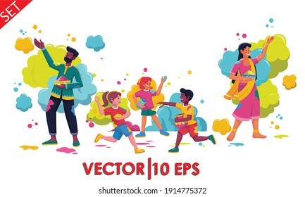 Group of young people celebrates Holi. Man, women and children throw colored paint splashes. Vector illustration in flat cartoon style.