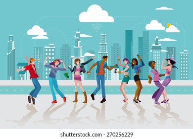 Group of young people dancing and jumping in a street of a modern Wireless City. Vector Illustration.