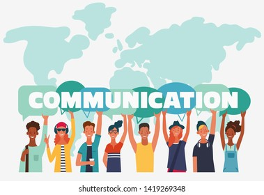 Group of young people with dialog speech bubbles. Communication, teamwork and connection vector concept
