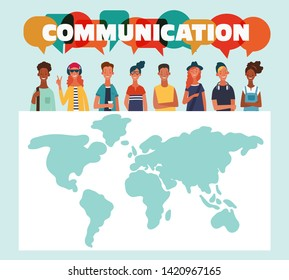 Group of young people with dialog speech bubbles and world map. Communication, teamwork and connection vector concept