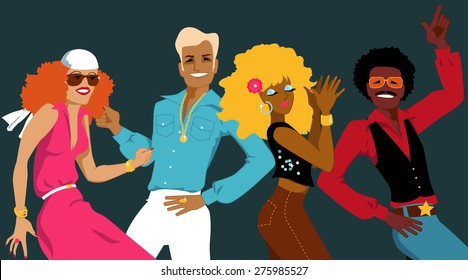 Group of young people dressed in 1970s fashion dancing disco, EPS 8