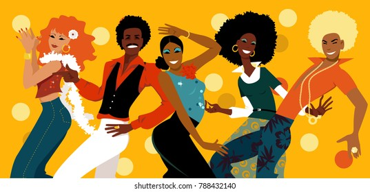 Group of young people dressed in 1970s fashion dancing in a disco club, EPS 8 vector illustration