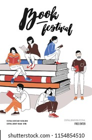 Group of young people dressed in trendy clothing sitting on pile of giant books or beside it and reading. Colored vector illustration for literary or writers festival advertisement, promotion