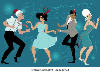 Group of young people dressed vintage fashion dancing celebrating New Year in the club, vector illustration, EPS 8, no transparencies, no mesh
