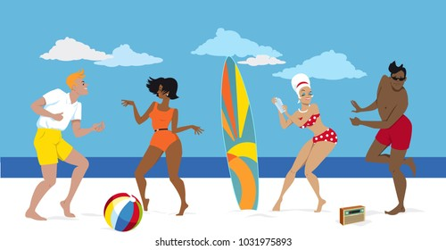 Group of young people in early 1960s swimsuits dancing the Twist on the beach, EPS 8 vector illustration