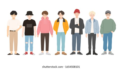 Group of young people flat cartoon characters isolated on white background. Happy teenager in casual clothes.