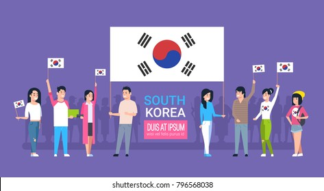 Group Of Young People Holding Korean Flag South Korea Youth Men And Women Vector Illustration