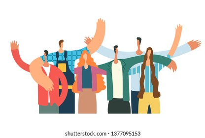 \t\n\nGroup of young people hugging and waving. Happy students isolated on white background. Flat cartoon vector illustratio