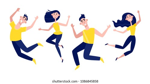 Group of young people jumping isolated on white. Horizontal vector banner with happy stylish modern male and female teenagers. Party, sport, dance and friendship team concept