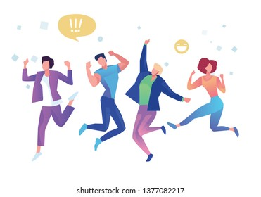 Group of young people jumping on white background with copy space. Stylish modern vector illustration with happy male and female teenagers Party, sport, dance and friendship team concept