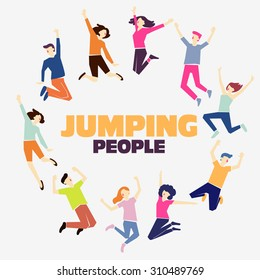Group of young people jumping on white background with copy space.  Stylish modern vector illustration with happy male and female teenagers  Party, sport, dance and friendship team concept.