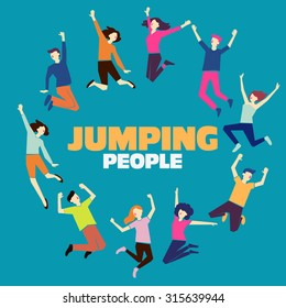 Group of young people jumping on blue background with copy space. Stylish modern vector illustration with happy male and female teenagers. Party, sport, dance and friendship team concept. - Shutterstock ID 315639944