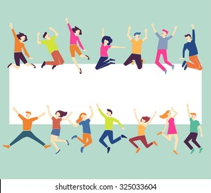 Group of young people jumping on pastel green background with white copy space. Stylish modern vector illustration with happy male and female teenagers. Party, sport, dance and friendship team concept