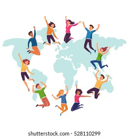 Group of young people jumping over world map with white background. Stylish modern vector illustration with happy male and female teenagers Party, sport, dance and friendship team concept