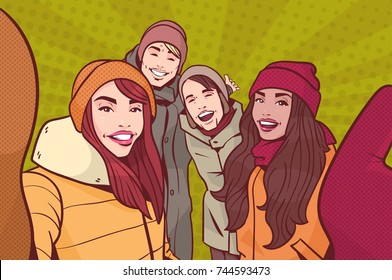 Group Of Young People Making Selfie Photo Wearing Winter Clothes Over Colorful Retro Style Background Mix Race Man And Woman Happy Smiling Take Self Portrait Vector Illustration