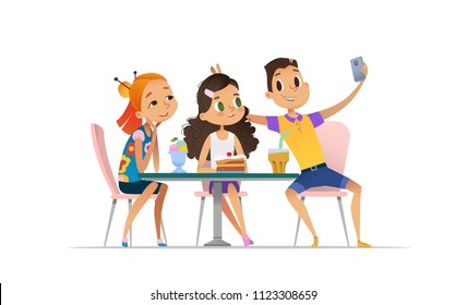 Group of young people meeting at the cafe a and taking selfie. Teenagers friends at the restaurant taking photo on phone. Smiling students having coffee-break and taking self-portrait.
