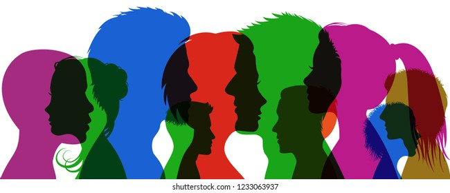 Group young people. Profile silhouette faces girls and boys – stock vector