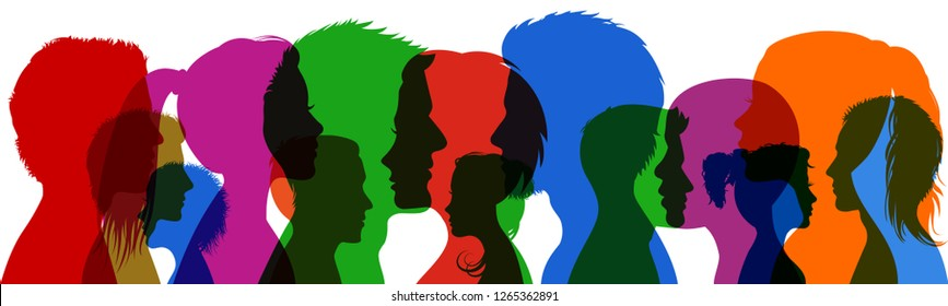Group young people. Profile silhouette faces girls and boys – vector