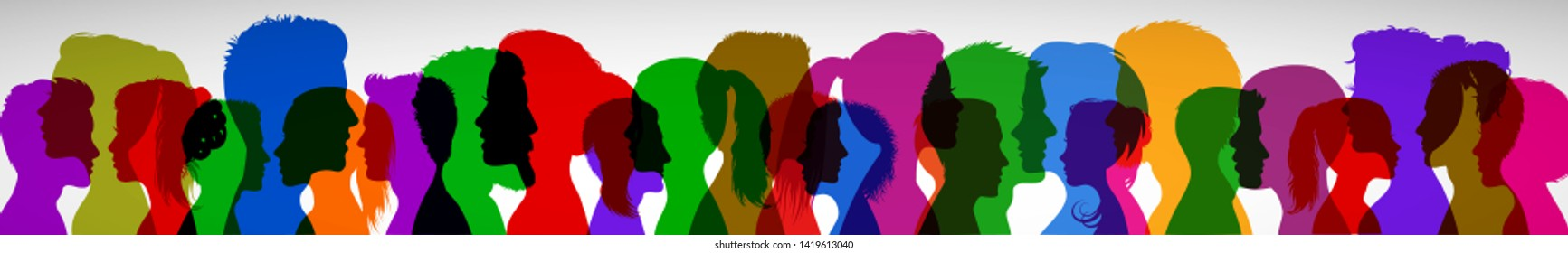 Group young people. Profile silhouette faces girls and boys – for stock vector