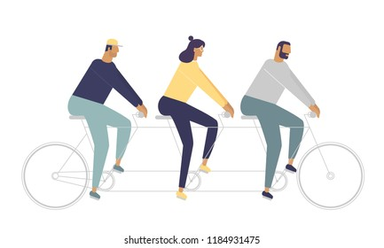 Group of young people riding a tandem bike. The concept of teamwork. Vector illustration with funny friends. Stylish idea for your pictures. Flat design style, white background isolated