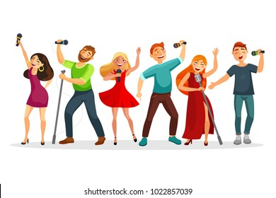Group of young people singing and dancing with microphones vector illustration in flat design. People collection isolated on white background. Youth in karaoke have fun.