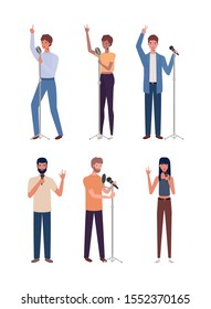 group of young people singing with microphones vector illustration design