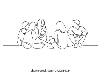 Group of young people sitting on ground together and talking. Friends rest and communicate. Continuous line art drawing style. Minimalist black linear sketch on white background. Vector illustration