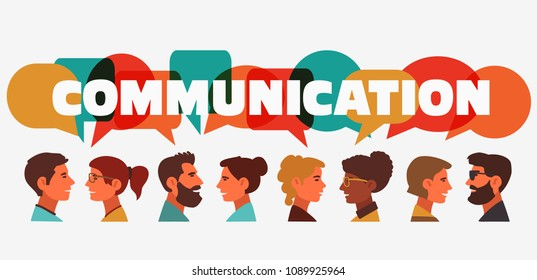 "Group of young people speaking together. Male and female faces avatars and the word ""communication"" with colorful dialog speech bubbles. Communication, teamwork and connection vector concept"