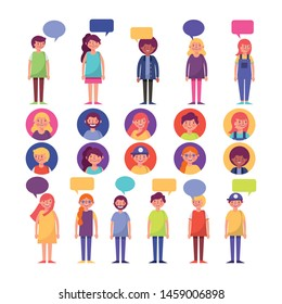 group of young people with speech bubbles characters vector illustration design