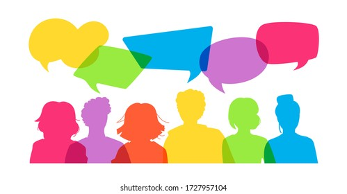 Group young people students discuss social network, news, social networks, health. Silhouette speech bubbles. Vector illustration